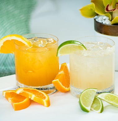 Ginger Margarita and Passion Fruit Fizz