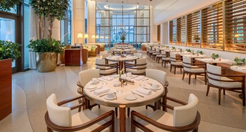 Tables, chairs, and booths at Jean-Georges