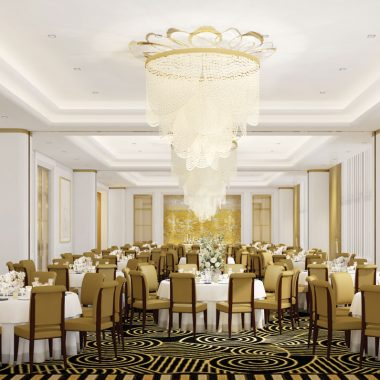 The elegant ballroom boasts plenty of seating for any event