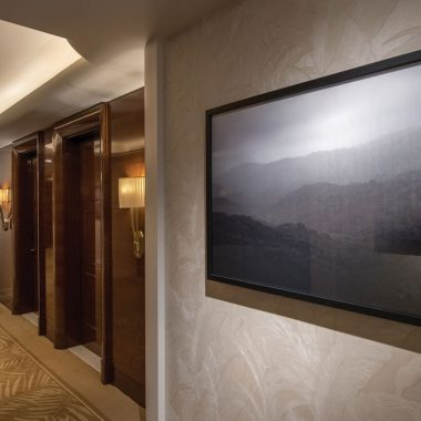 In the halls, there are large artworks and plush carpeting guiding your way